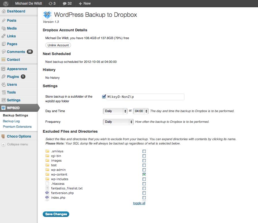 El panel de control de WordPress to Dropbox