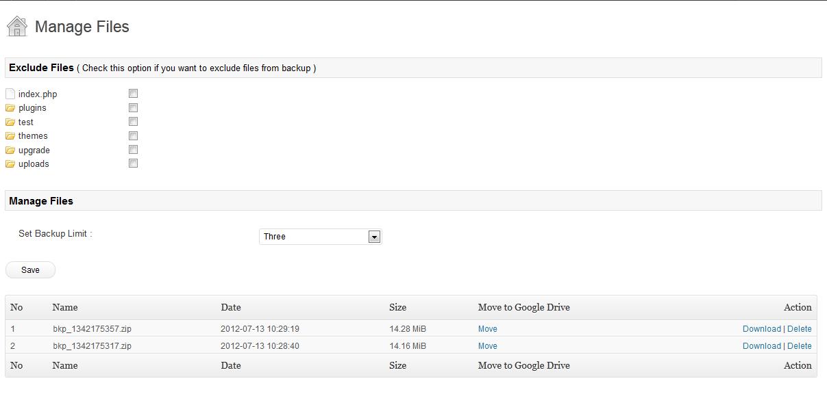 El gestor de copias de archivos de Google Drive For WordPress