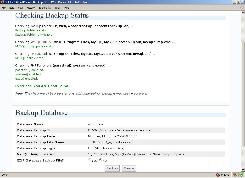Cómo se gestionan las copias de seguridad desde WP-DBManager