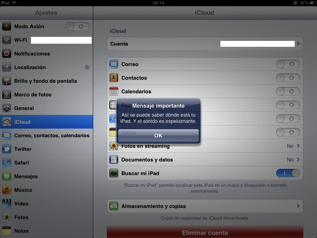 Captura del iPad de @mediotic: buscando mi iPad sobre mi barriga