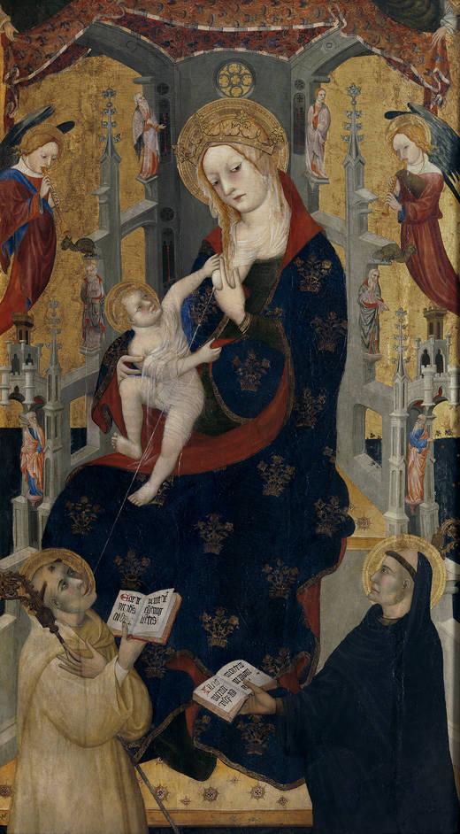 La Virgen de la Leche con el Niño entre San Bernardo de Claraval y San Benito - Peré Lembrí