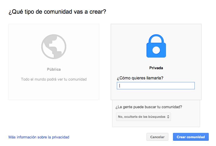 Privacidad Comunidad G+