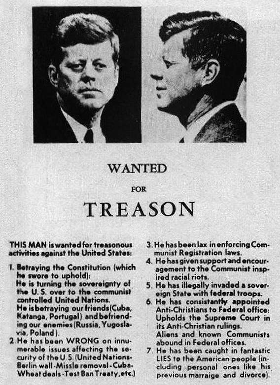 Kennedy wanted for treason