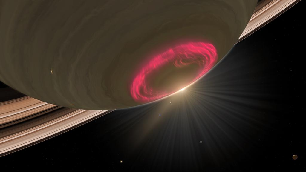 Aurora boreal en Saturno