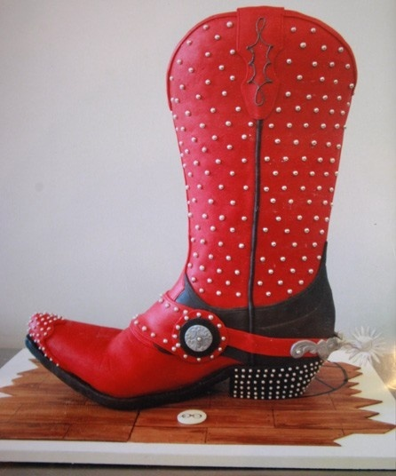 cowboy red boots cake
