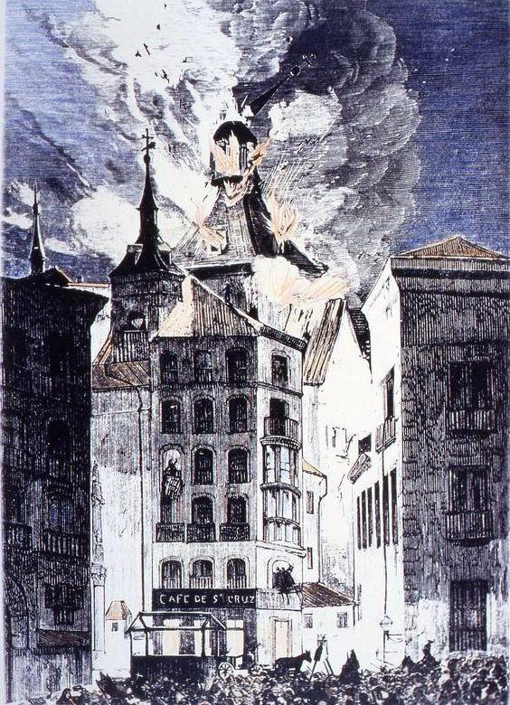 grabado incendio siglo XIX 1872