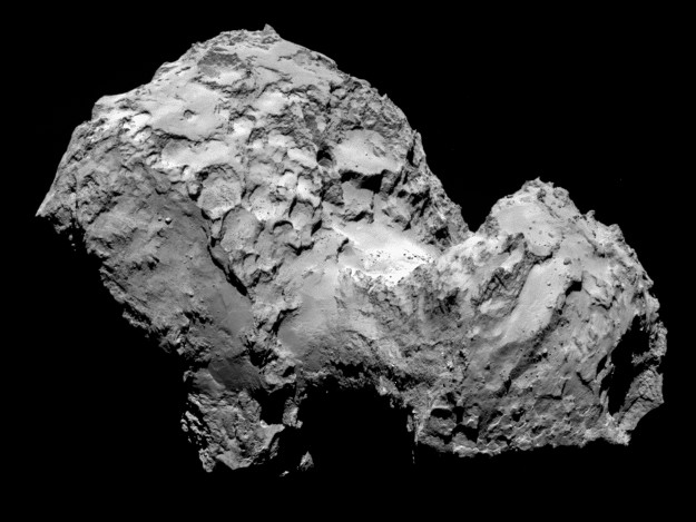 Comet 67P/Churyumov-Gerasimenko by Rosetta's OSIRIS narrow-angle camera on 3 August 2014 from a distance of 285 km. The image resolution is 5.3 metres/pixel. Credit: ESA/Rosetta/MPS for OSIRIS Team MPS/UPD/LAM/IAA/SSO/INTA/UPM/DASP/IDA