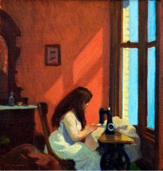 Girl at the sewing machine